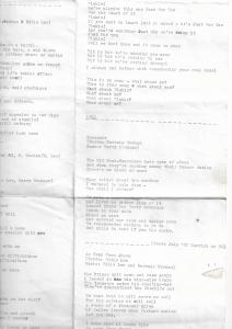 Original Lyric Sheet - Those Nervous Animals #myfriendjohn